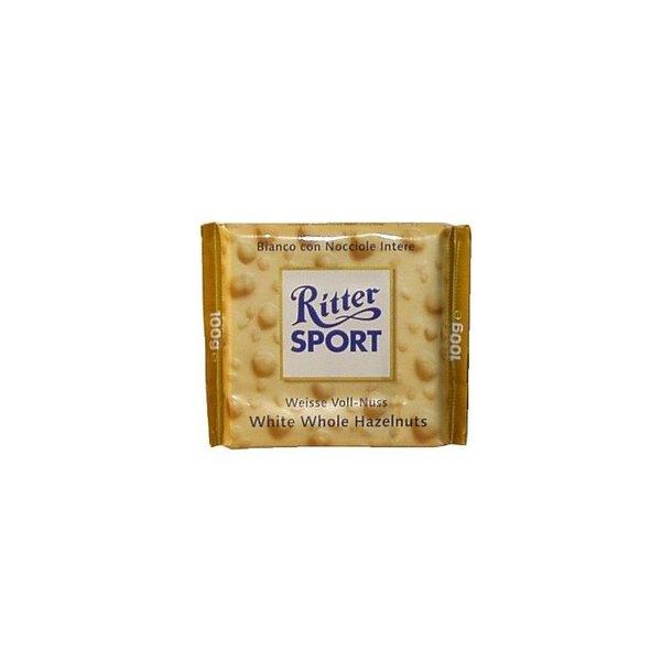 Ritter Sport hvid med hele hasselnødder, 100 gram