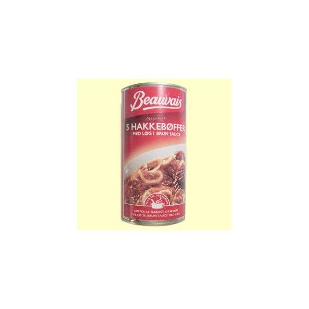 Hakkebøffer med løg i brun sauce, på dåse. 555 gram
