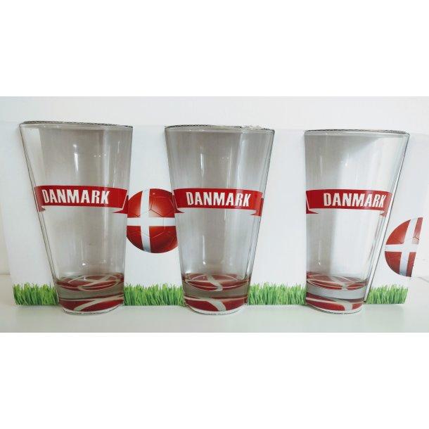 3-pak drikkeglas, med teksten Danmark.