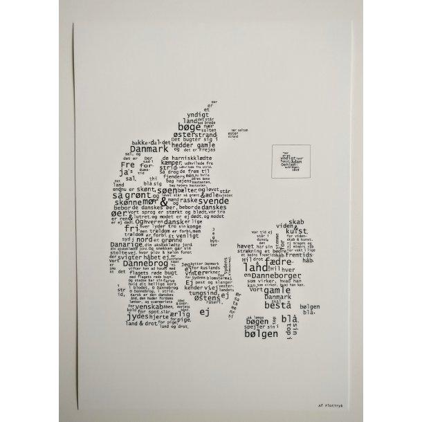 Stort kort med Danmark fra FlotTryk. Hvid baggrund. 14,8 x 21cm.