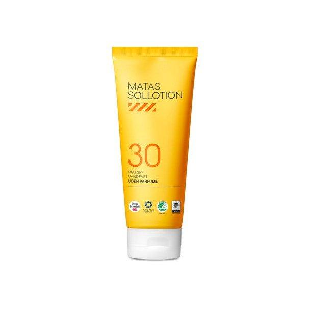Matas Sollotion faktor 30, vandfast og uden parfume, 200ml.