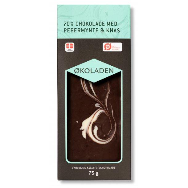 Økoladen Mørk Chokolade med pebermynte og knas. 75g