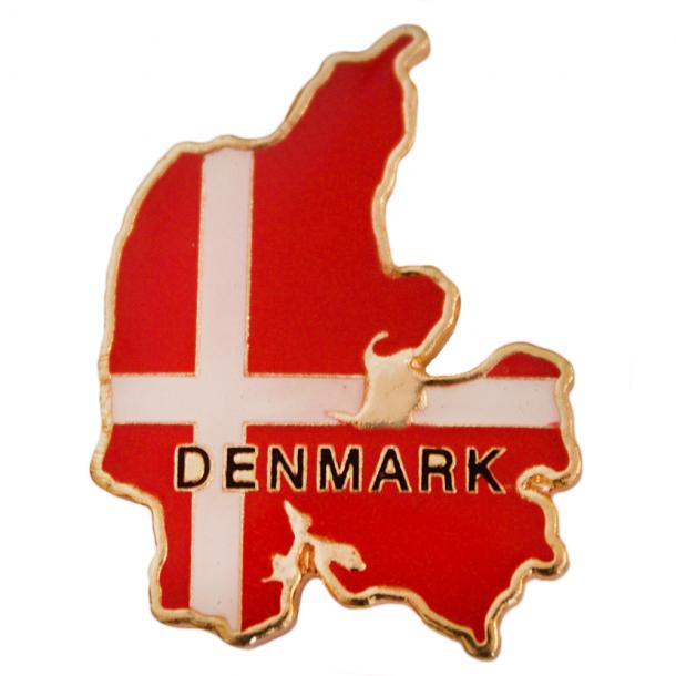 Pin med Danmark og flag