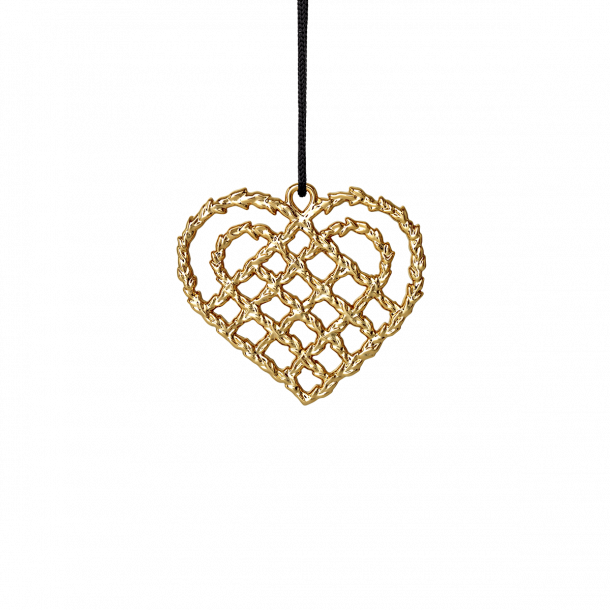 Rosendahl Karen Blixen Flettet Julehjerte, forgyldt, 7 cm