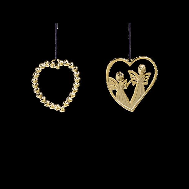 Rosendahl sampak hjertekrans og hjerteengel forgyldt, 6 cm.