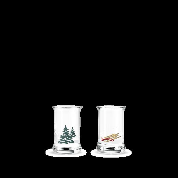 Snapseglas Holmegaard med julemotiver. 2 styks.