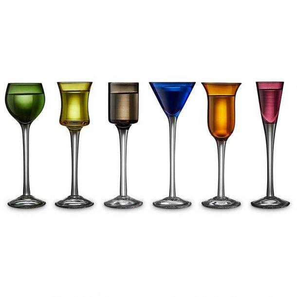 Snapseglas på fod fra Lyngby, 6 styks. Flere farver.