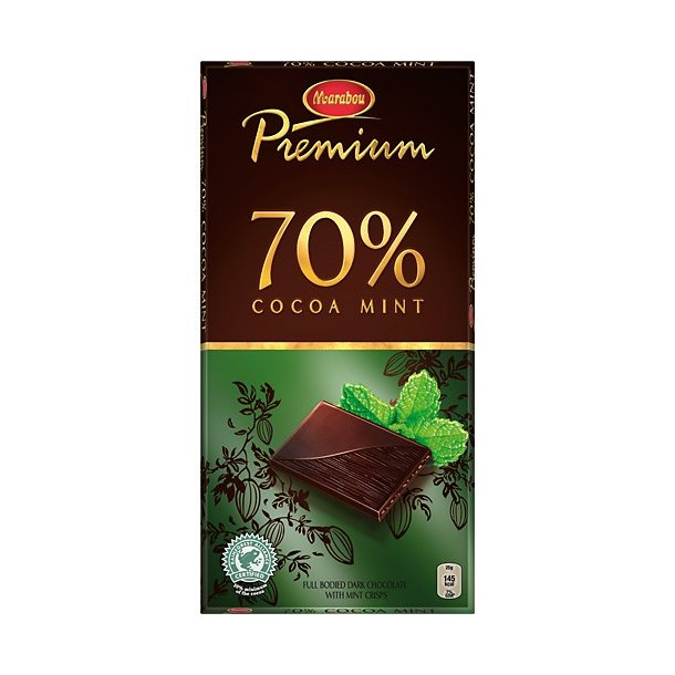Marabou Chokolade Premium Cocoa Mint 70%, 100 gram