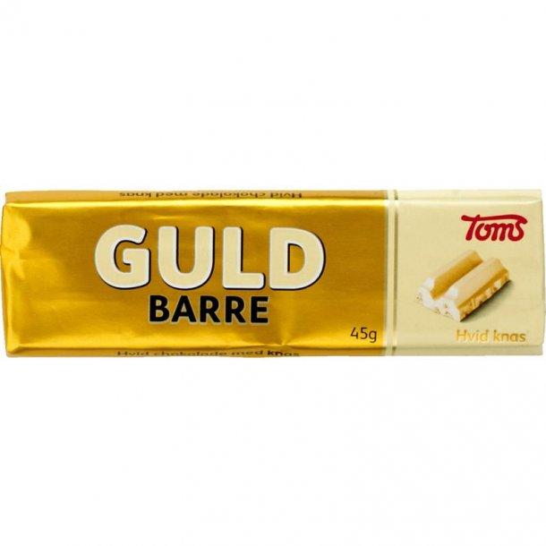 Toms Guldbarre Hvid Chokolade med knas. 2 styks.