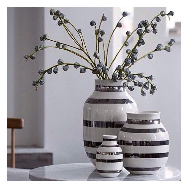 Kähler omaggio vase sølv mellem 20 cm