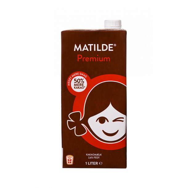 Mathilde Premium kakaomælk, 50% mere kakao, 1l.