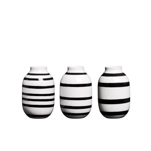 Kähler Omaggio Miniature Vaser 3-pak, Sort