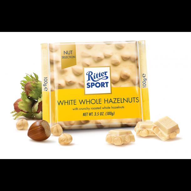 Ritter Sport Hvid med hele hasselnødder, 100g