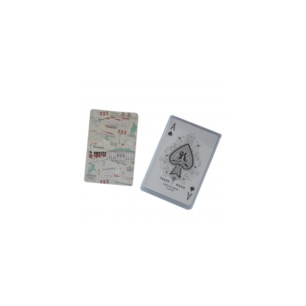 Spillekort med dansk collage på den ene side, 55 kort
