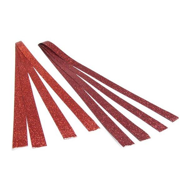 Lange stjernestrimler rød med glitter. 15mm 8 stk