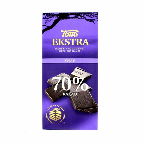 Toms Ekstra, Mørk chokolade 70% med knas. 100 gram